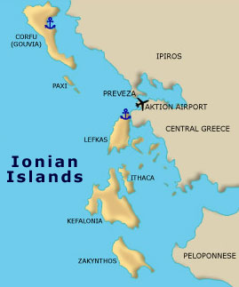 Ionian Islands Sailing Itineraries Maps Greece Bareboat Yacht