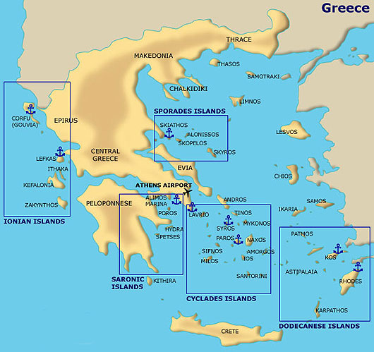 Poros Greece Map.Greece Sailing Itineraries And Maps Greek Islands Routes For